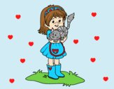 Coloring page Little girl with kitten painted byAnia