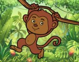 Coloring page Monkey hanging from a branch painted byAnia
