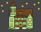 Coloring page Two-story house with tower painted byAnia