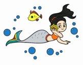 Coloring page Magical mermaid painted byNerak