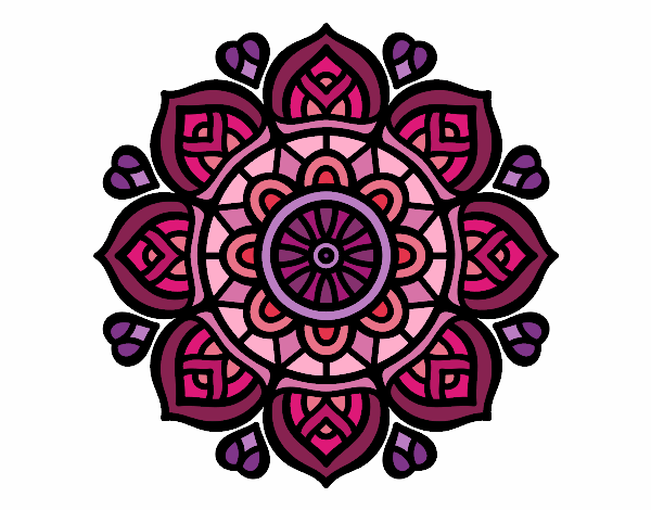 Coloring page Mandala for mental concentration painted byyokouno