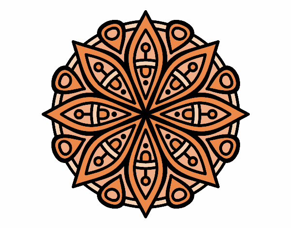 Coloring page Mandala for the concentration painted byyokouno
