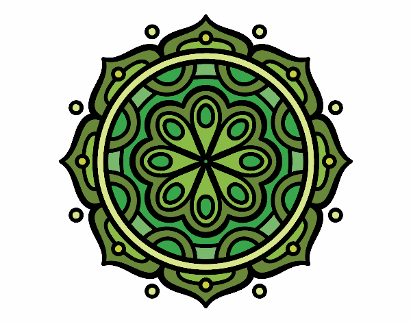 Coloring page Mandala to meditate painted byyokouno