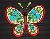 Coloring page Butterfly mandala painted bylorna