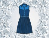 Coloring page Denim dress painted bylorna