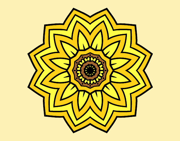 Coloring page Flower mandala of sunflower painted bylorna