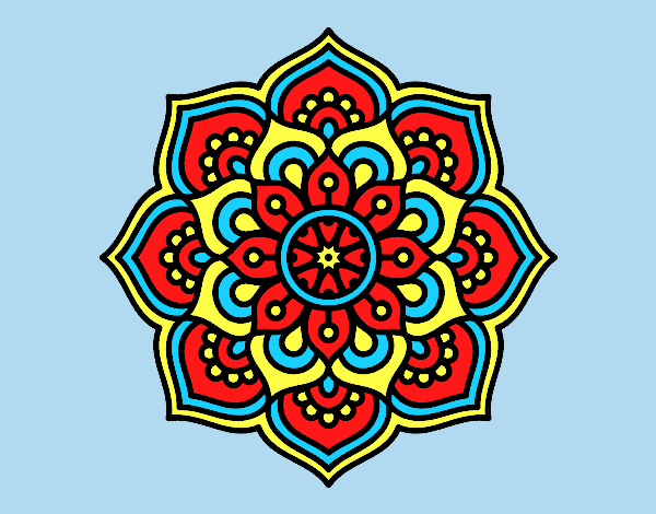 Coloring page Mandala concentration flower painted bylorna