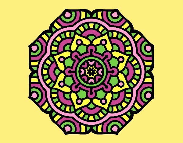 Coloring page Mandala conceptual flower painted bylorna