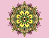 Coloring page Mandala floral flash painted bylorna