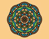 Coloring page Mandala for mental relaxation painted bylorna