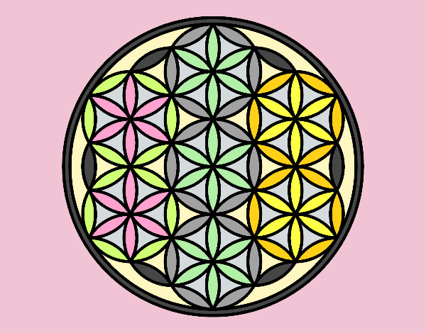 Coloring page Mandala lifebloom painted bylorna