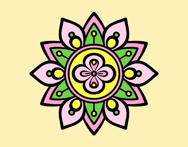Coloring page Mandala lotus flower painted bylorna