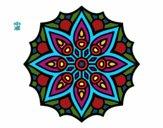 Coloring page Mandala simple symmetry  painted byviki