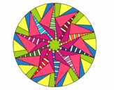 Coloring page Mandala triangular sun painted byviki