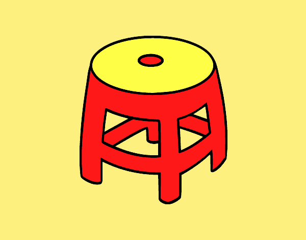 Coloring page Plastic stool painted bylorna