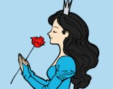 Coloring page Princess and rose painted bylorna