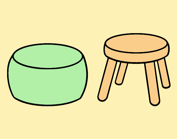 Coloring page Stools painted bylorna