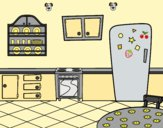 Coloring page Traditional Kitchen painted bylorna