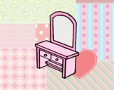 Coloring page Vanity with drawers painted bylorna