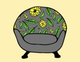 Coloring page Vintage armchair painted bylorna