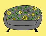 Coloring page Vintage Couch painted bylorna