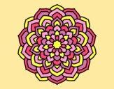 Coloring page Mandala flower petals painted bylorna