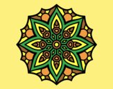 Coloring page Mandala simple symmetry  painted bylorna