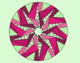Coloring page Mandala triangular sun painted bylorna