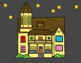 Coloring page Two-story house with tower painted bylorna